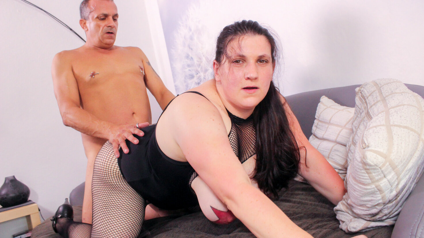 Hot ass fucking and cum in mouth for alternative BBW German amateur