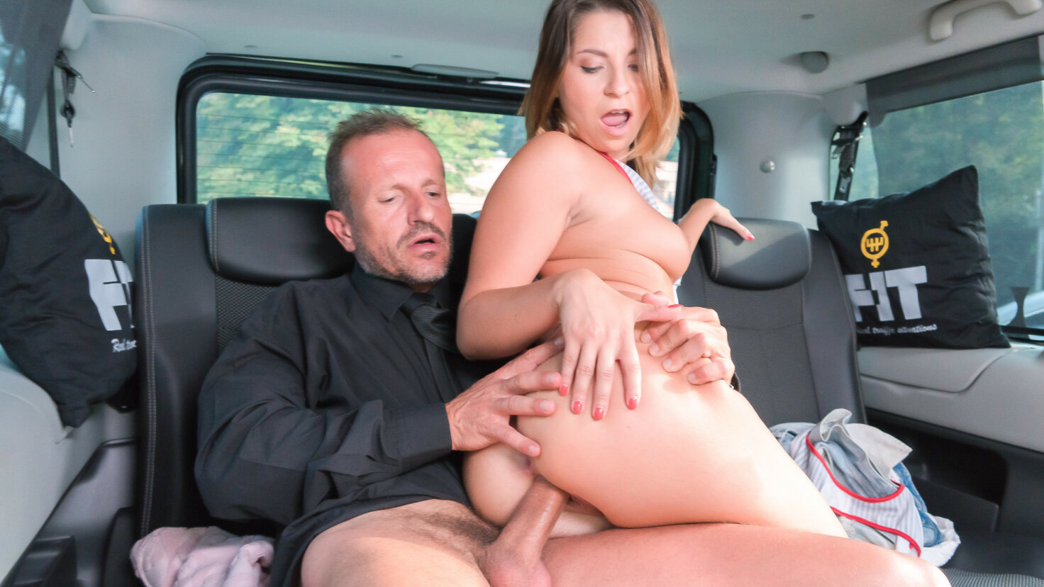 Lusty Czech babe Kattie Hill eats cum in raunchy backseat fuck with driver