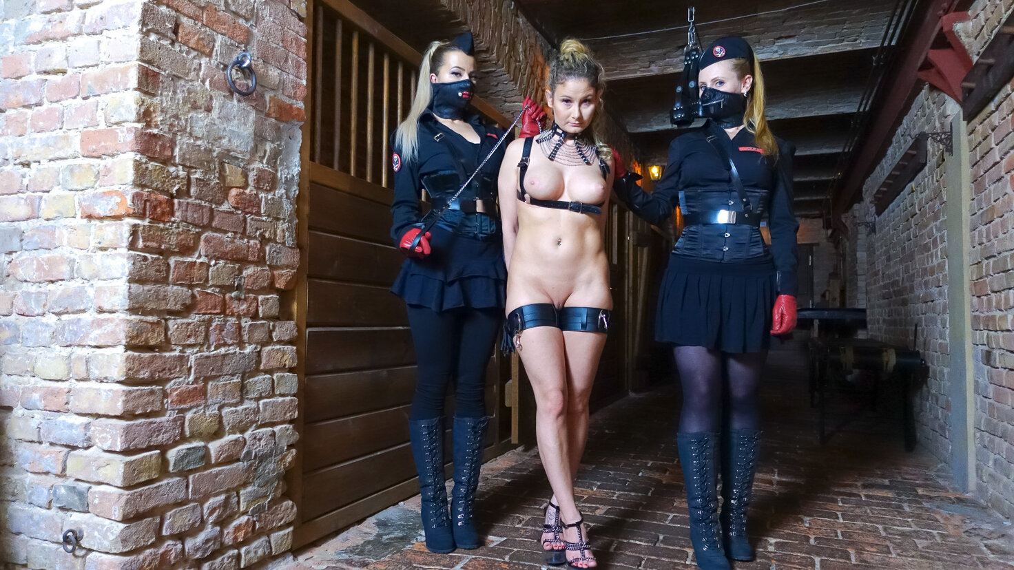 Hot German feet puppets get tortured by ominous Paula Rowe in BDSM action