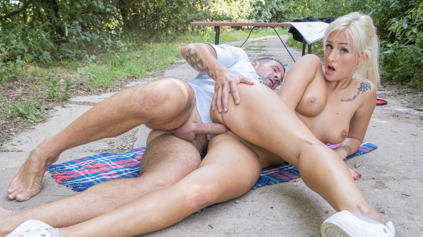Hot Czech blonde Daisy Lee gets pissed on and fucked in forest casting