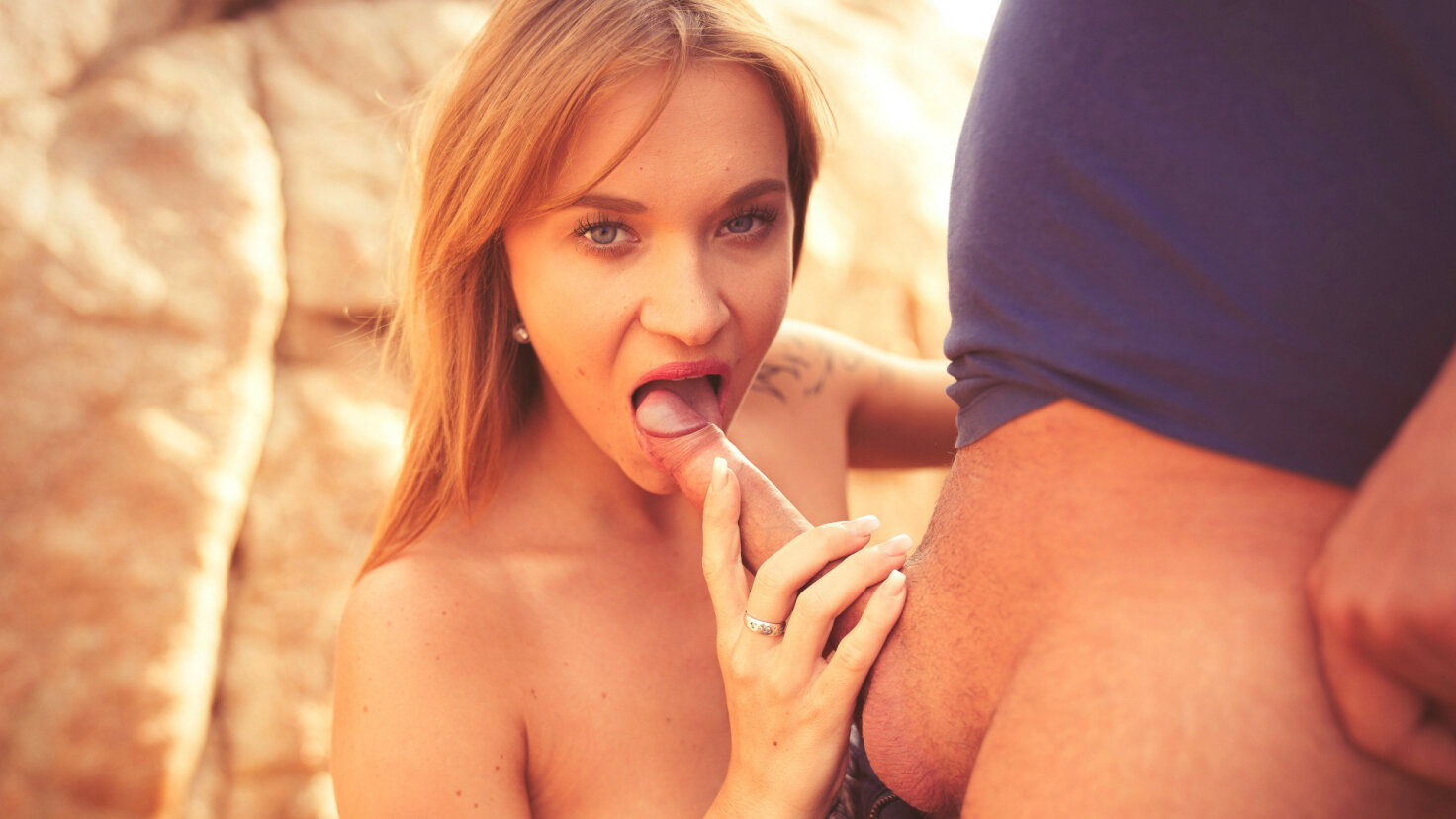 Hot blowjob on the beach
