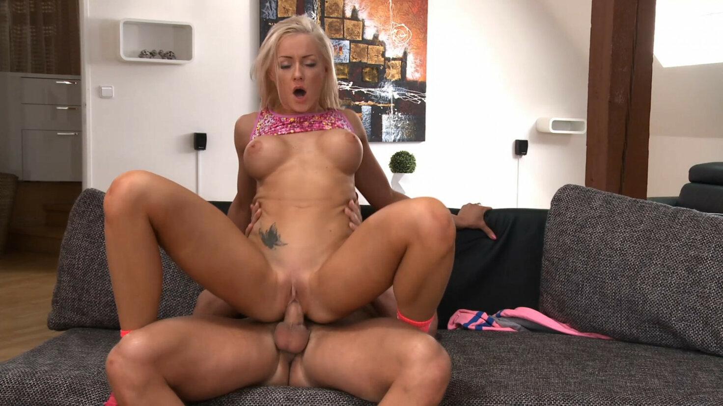 Big tits blonde sucks and rides cock hard