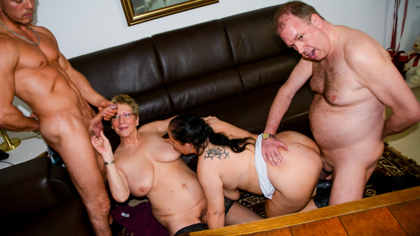 Amateur German grannies get fucked and cum covered in mature foursome