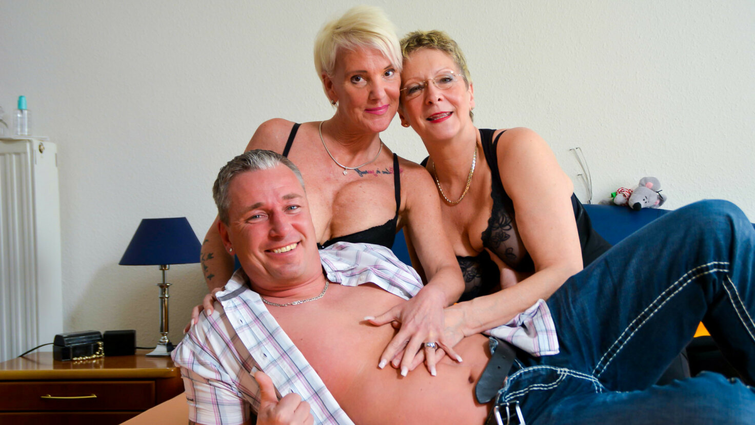 Crazy hot German foursome with horny blonde amateur grannies