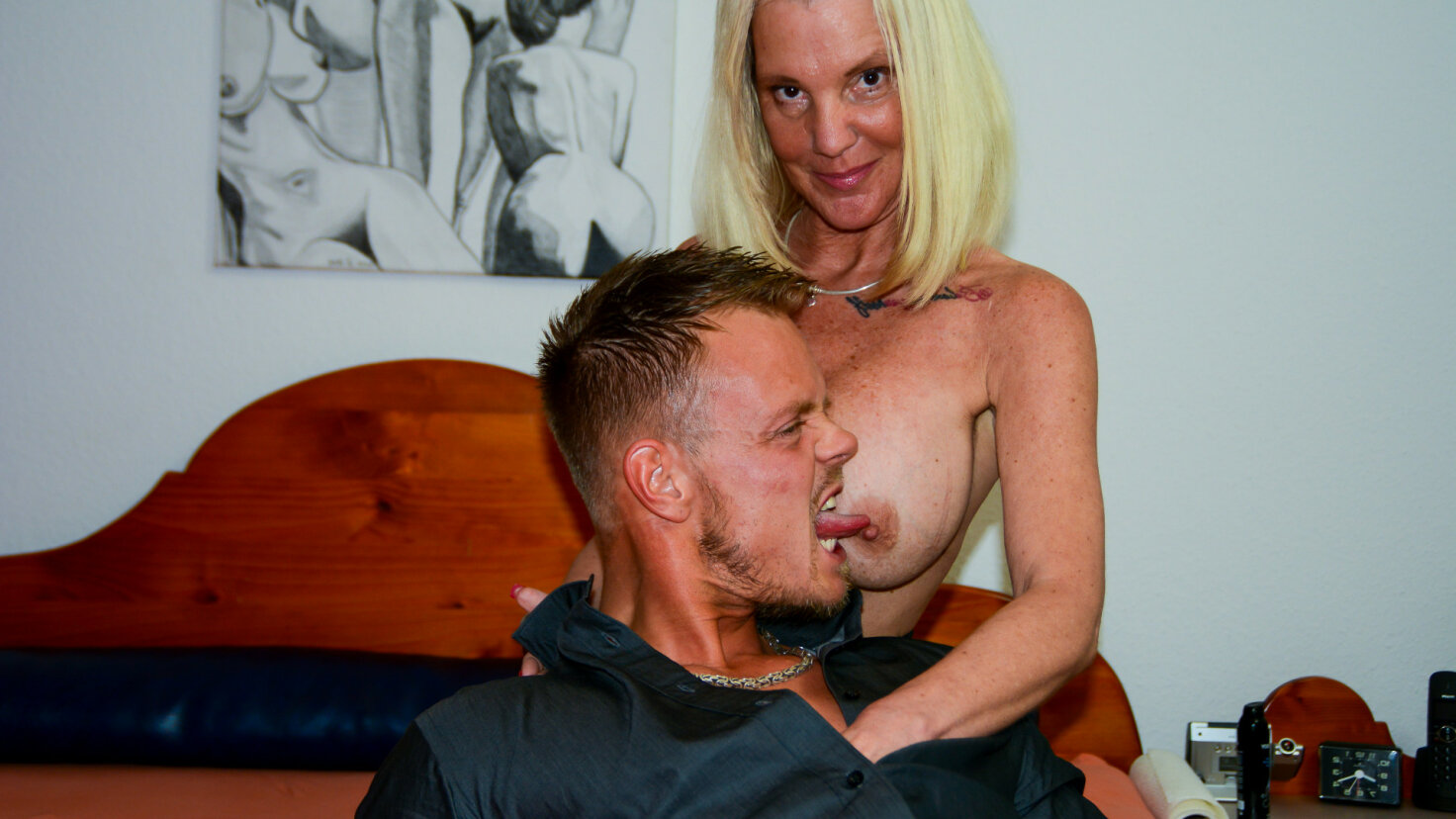 Hot German amateur sex with big titted mature blondie