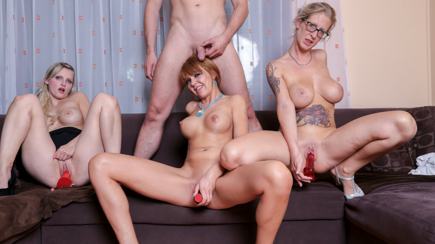Three German babes share cock in hardcore foursome