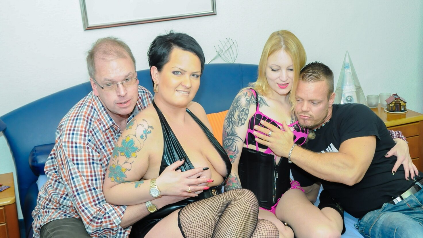 Alternative German swingers get cum covered in hot hard Christmas foursome
