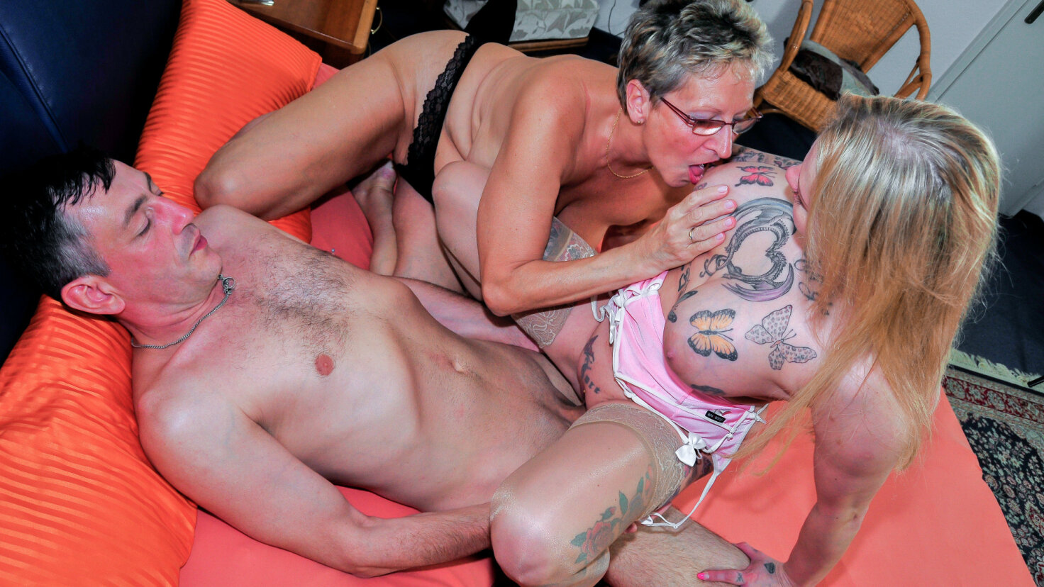 Big titted mature German blondies share cock in hardcore FFM threesome