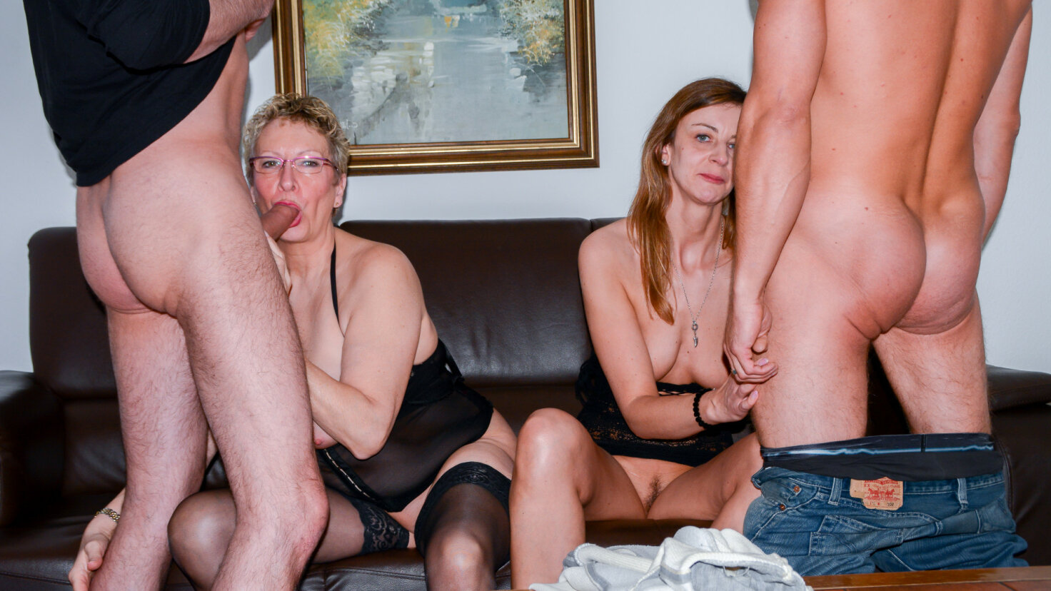 Mature German ladies go wild in hardcore swinger foursome