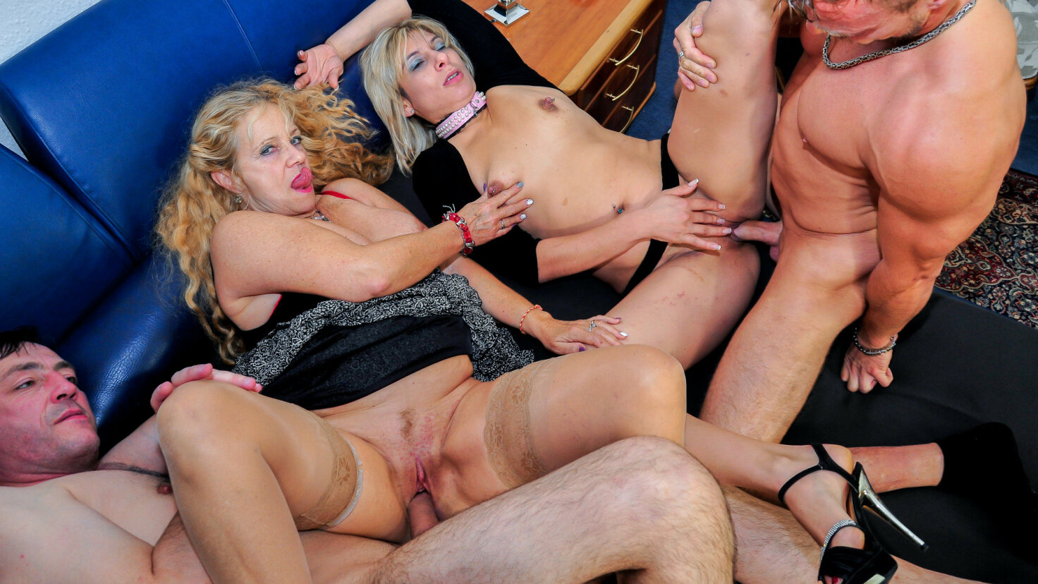Wild German foursome with naughty mature blonde swingers
