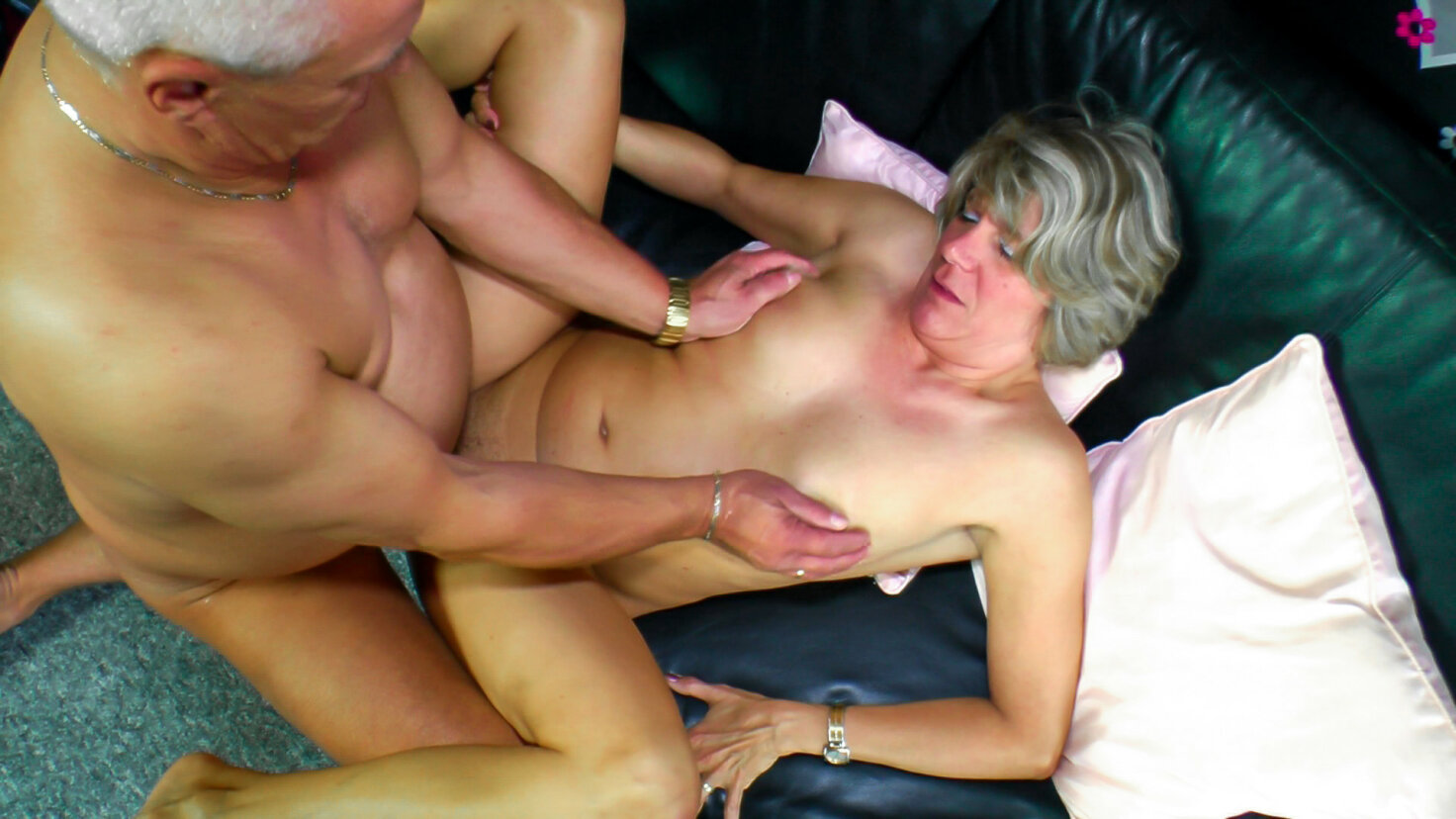 Cute amateur German granny gets cum on tits after hot hard fuck