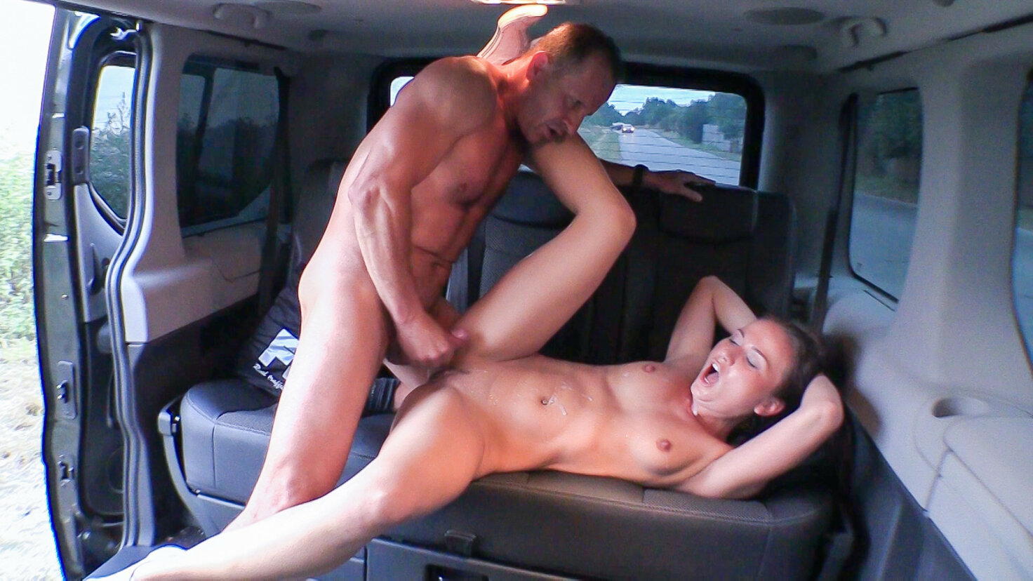 Beautiful Czech babe gets banged and cum covered in hot car sex