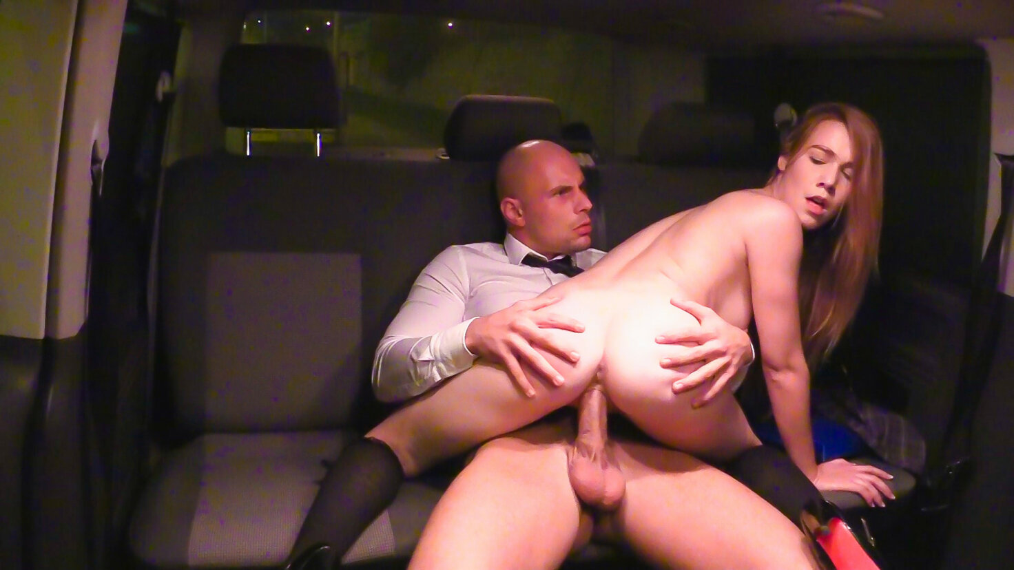 Naughty Czech schoolgirl Alexis Crystal fucked in the backseat of the car
