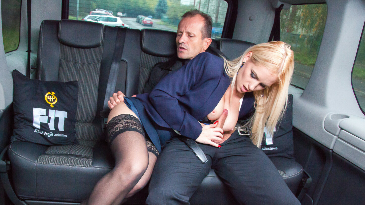 Naughty blonde Italian babe seduces driver and fucks him in traffic