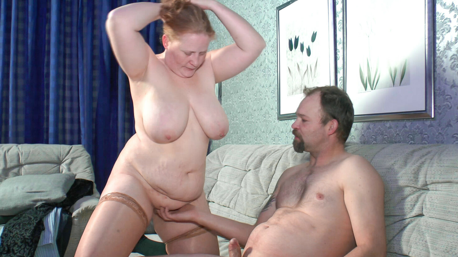 Mature BBW German lady gets drilled and eats cum in hot amateur fuck