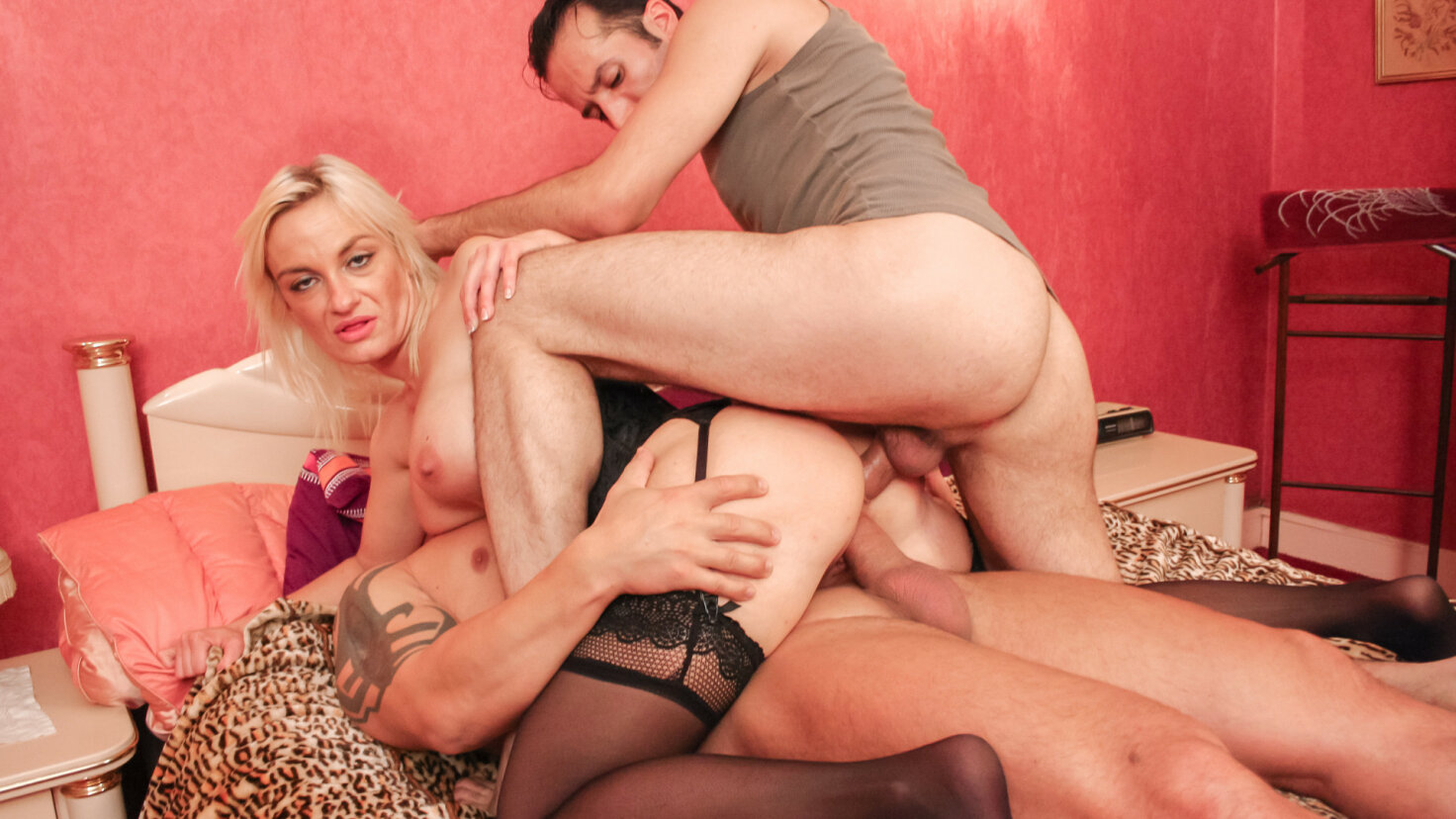 Hot blonde French newbie is sandwiched for double penetration splurge