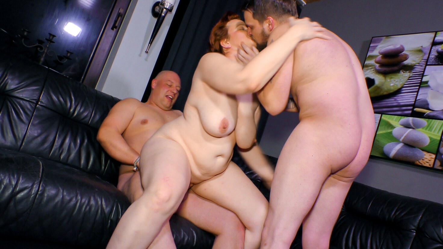 BBW German mature gets drilled by two cocks in hot threesome