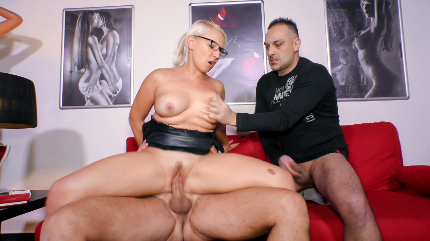 Mature German lady Gina Blonde gets two cocks in her pussy and mouth