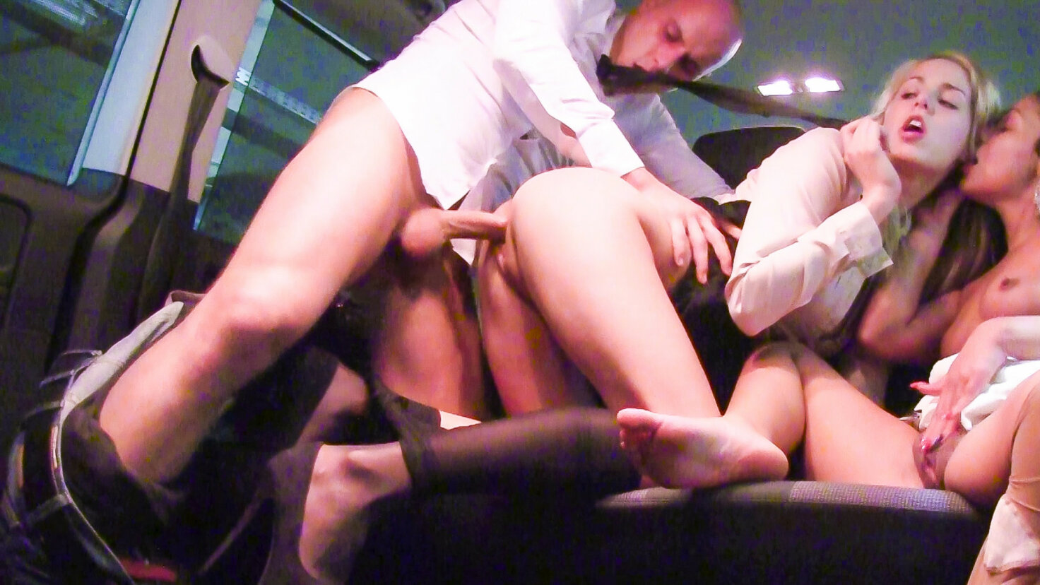 Hardcore threesome in the car with horny Czech babes