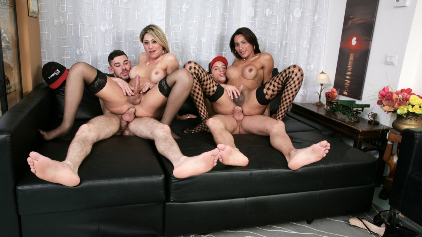 Wild hardcore foursome with hot trannies and horny studs
