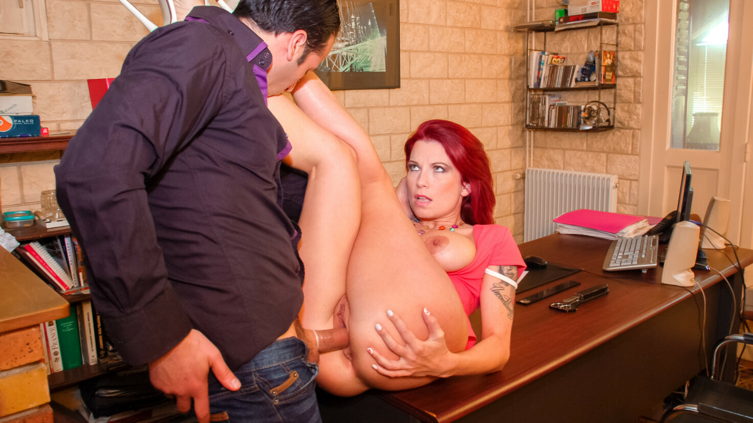 Busty French redhead babe Julie Valmont fucked hard during an interview
