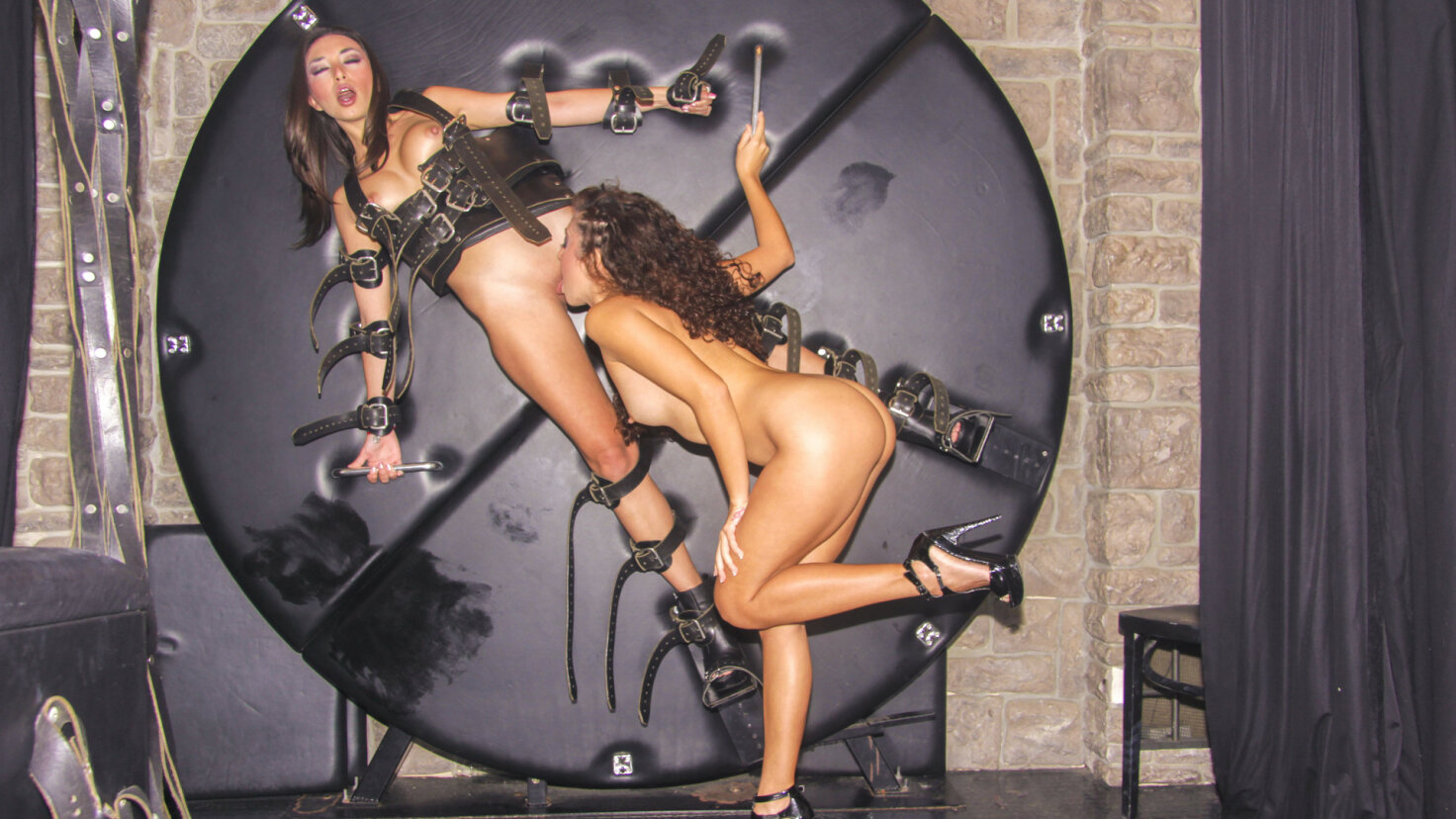 Light BDSM with naughty Mexican lesbians Frida Sante and Melody Petite