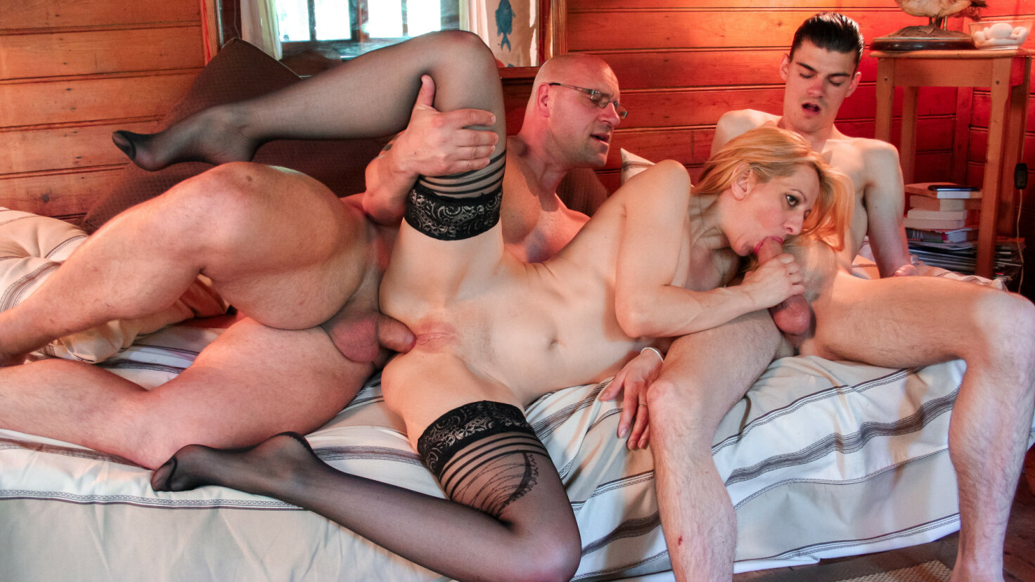 Slutty French blondie enjoys rough DP and two cumloads in hot MMF threesome