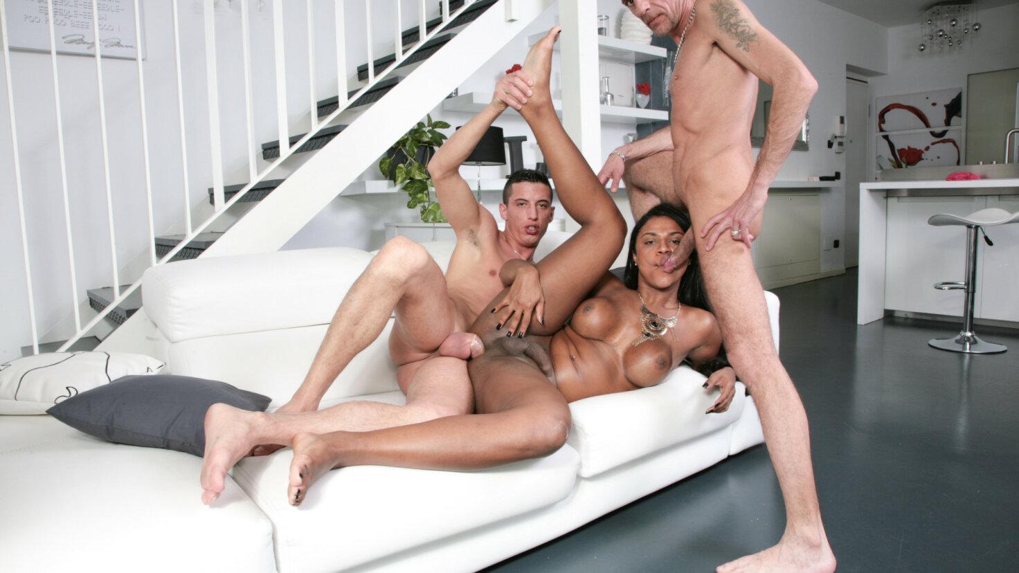 Naughty hardcore threesome with hot Latina tranny