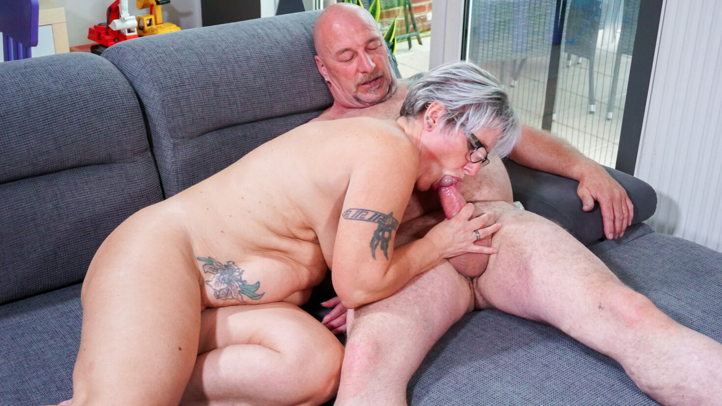 Tattooed chunky German granny sucks and fucks her badass husband