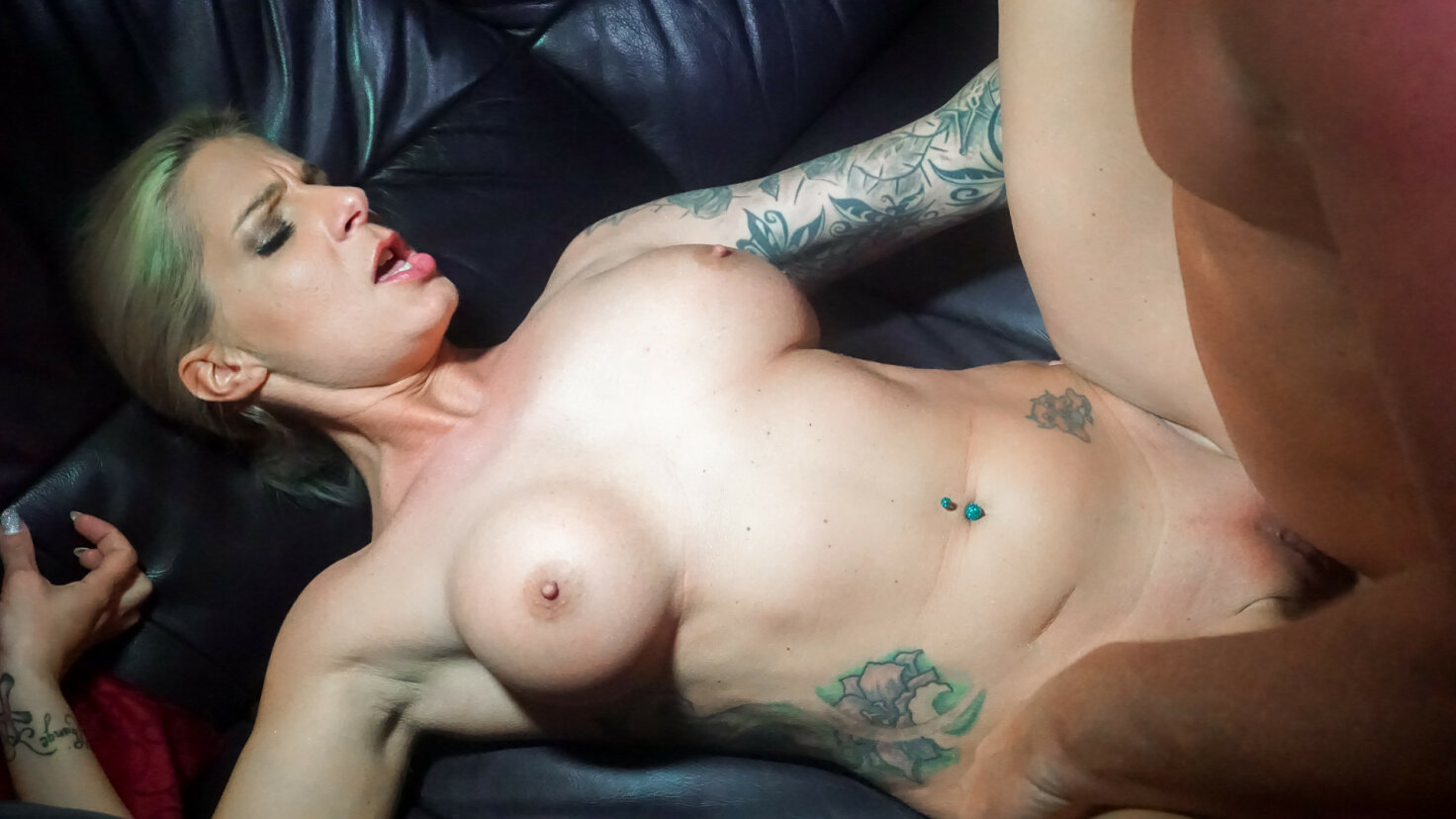 Tattooed blonde German badass bitch fucks on cam for first time porn