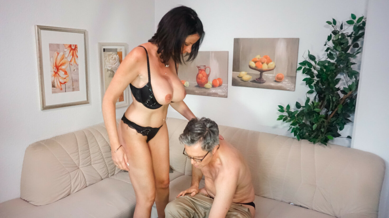 Busty mature German amateur Dacada gets hard cock in front of the camera
