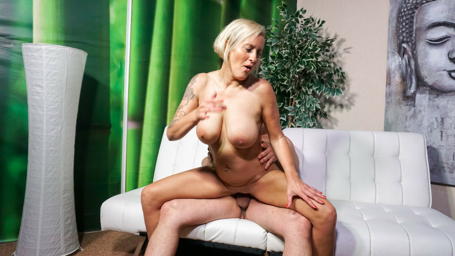 Badass German blonde in her 40s gives blowjob before sex in first time porn