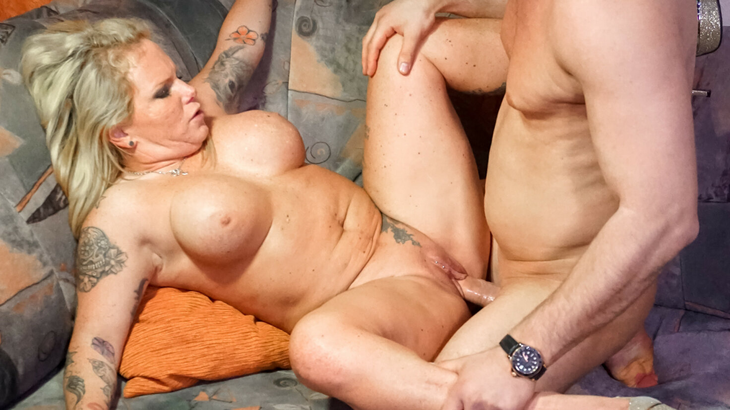 A busty blonde German babe with curves rides a dick during amateur sex tape