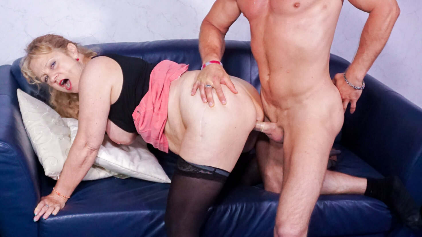 Cum on tits splurge for busty blonde German granny cheating with young stud