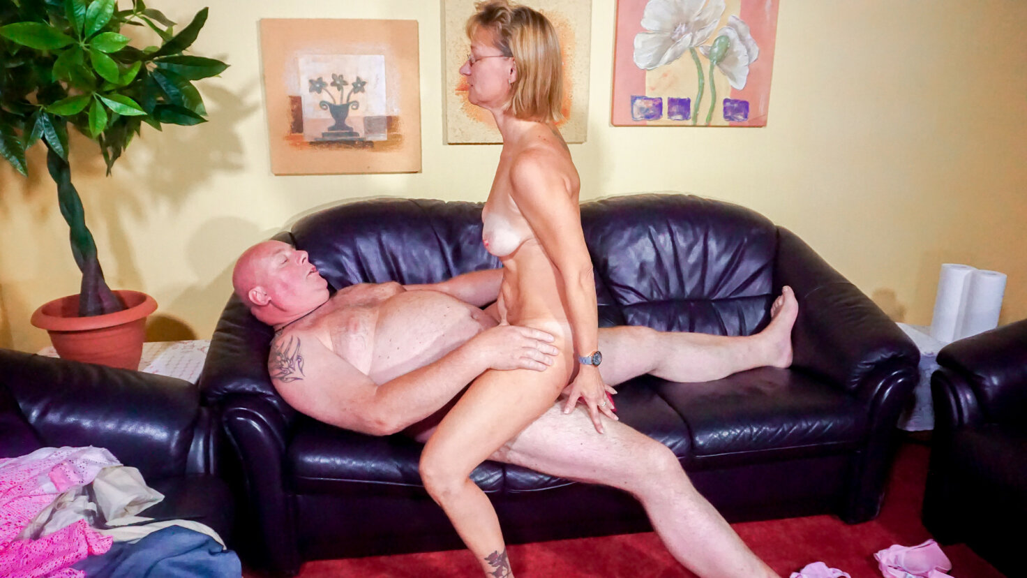 German granny is a blonde cheating slut who sucks a cock before wild ride