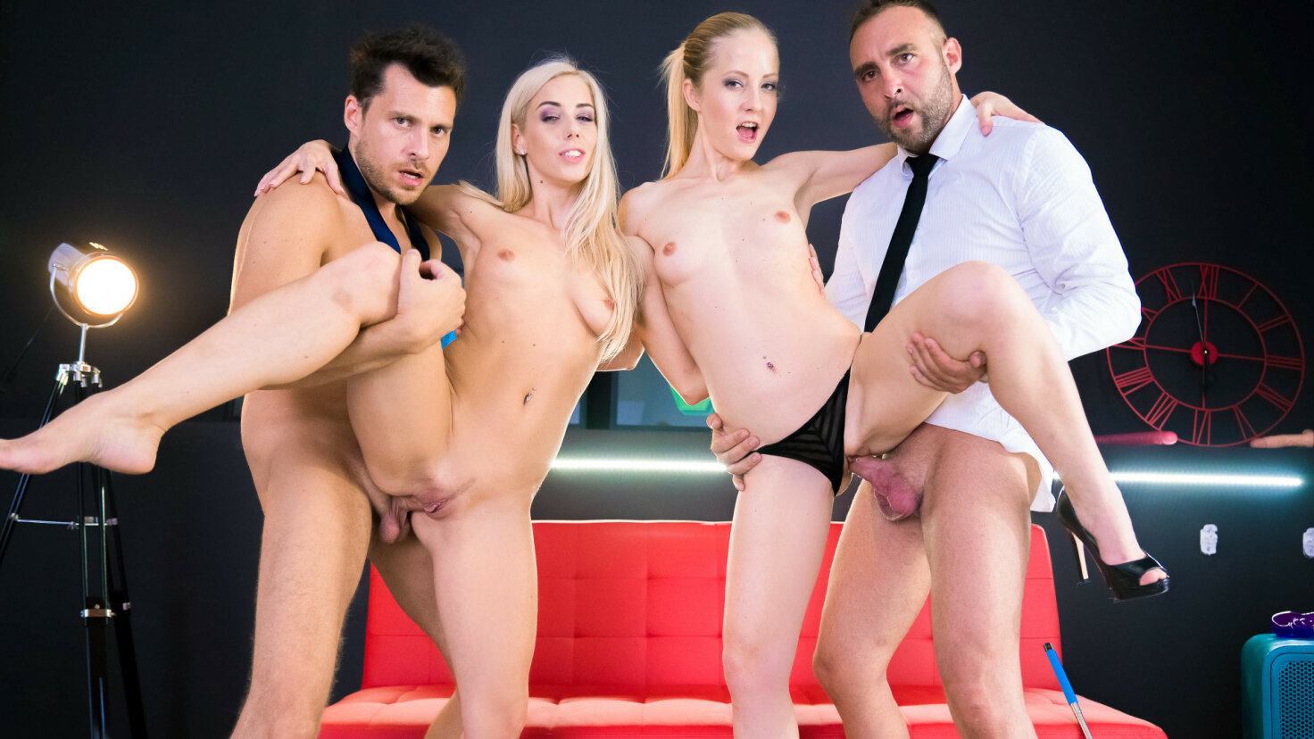 Sweet Hungarian blondie gets consoled in provoking Spanish foursome