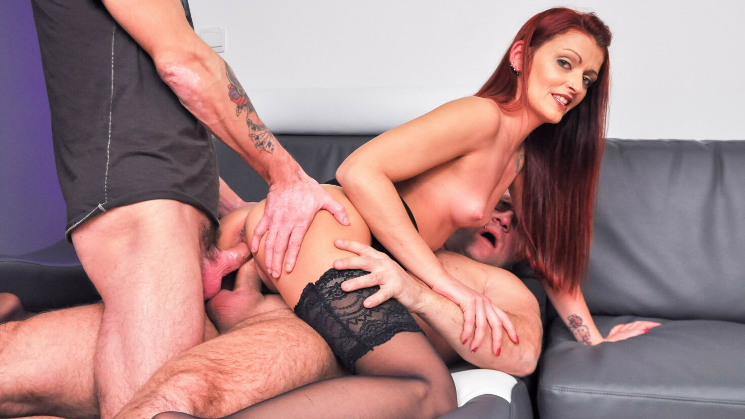 Pervy French amateur Lola Candy takes double penetration in dirty threesome