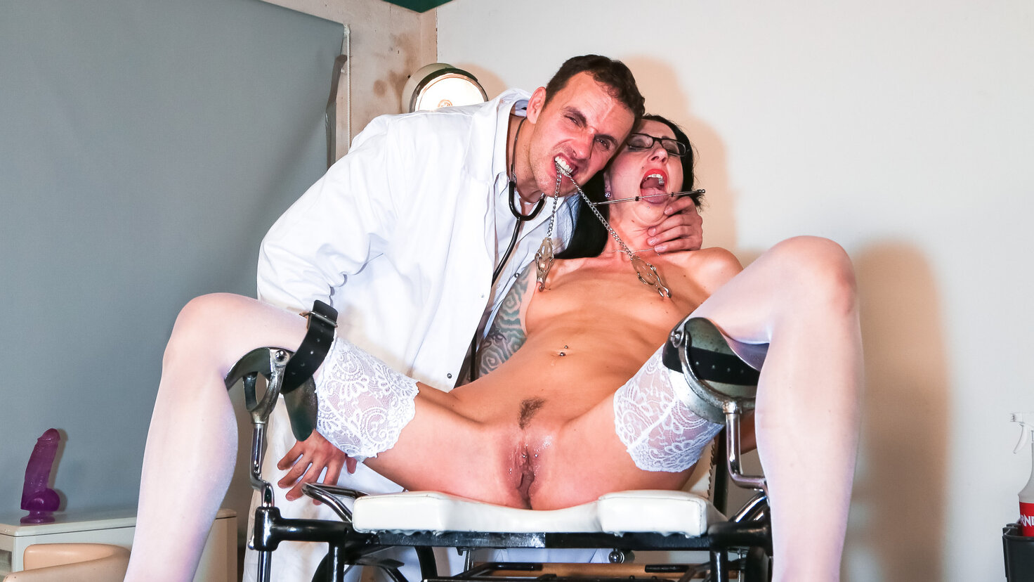 Piss play and BDSM action with German slave Stella Star and doctors PT 2