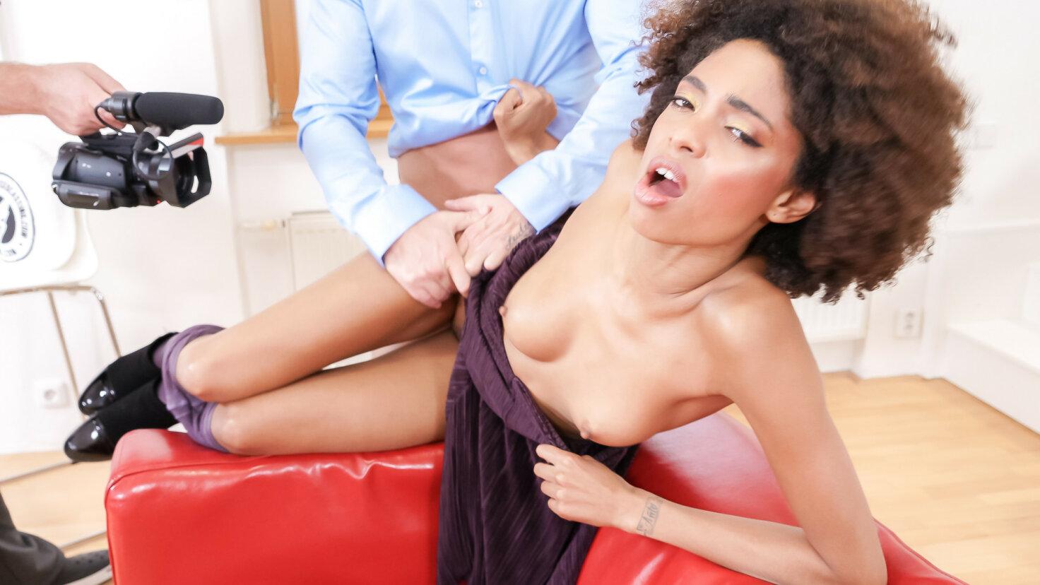 Hot Brazilian ebony babe Luna Corazon is cum covered in juicy POV casting