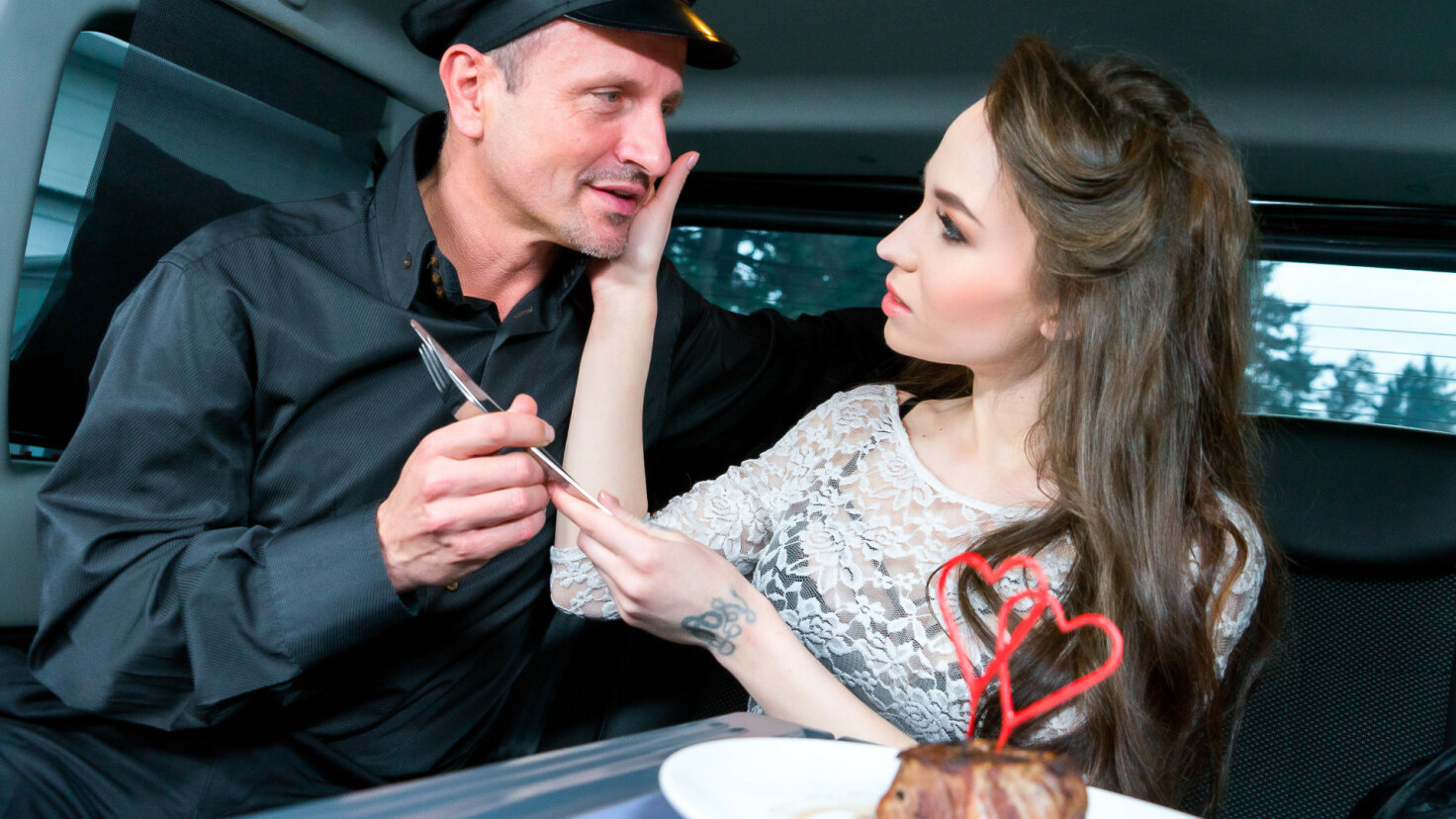 Steak & Blowjob Day hot fuck in the car with Russian babe Angel Rush