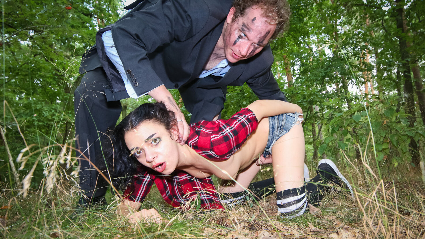 Halloween BDSM story in the forest with German teen Khadisha Latina PT 1