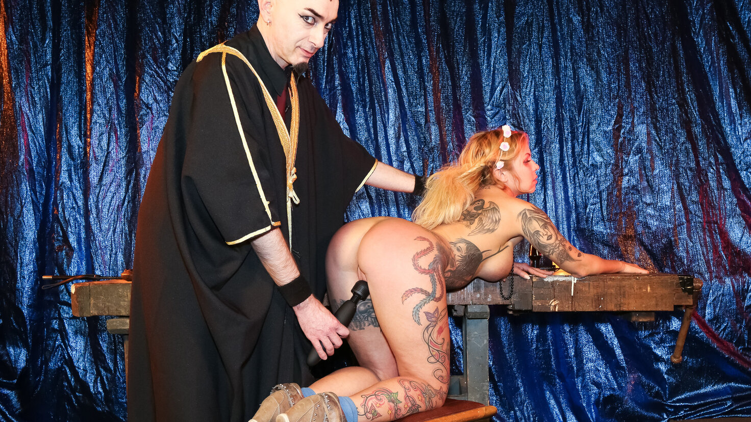Freaky BDSM session with busty squirting German blondie Mia De Berg PT 2