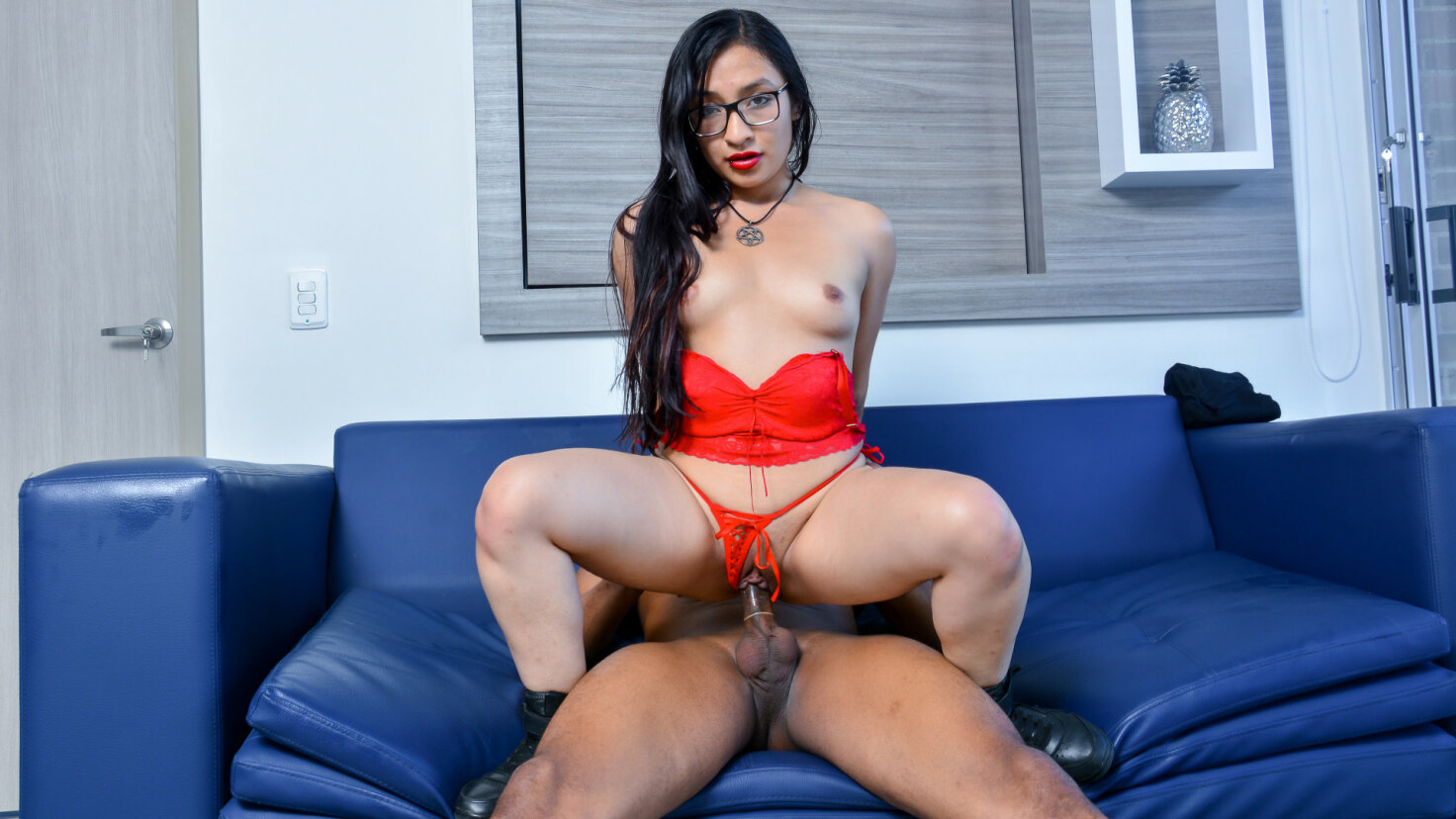 Sweet Latina Eva Cuervo gets cum on her glasses in hot pickup and fuck