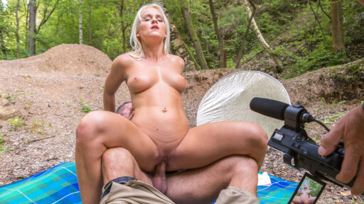 Curvy blonde newbie Rosella Visconti pussy drilled outdoors in hot casting