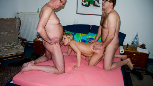 Ass sex in MMF threesome with German amateur mature blonde Oda Amelie