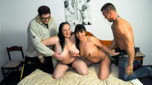 Un cuarteto de maduros alemanes swingers con Hanne y Elif O.