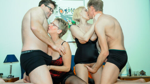 Amateur mature foursome with German blonde in her 40s and naughty granny