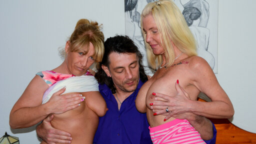 Horny mature German blonde grannies share cock and cum in dirty threesome