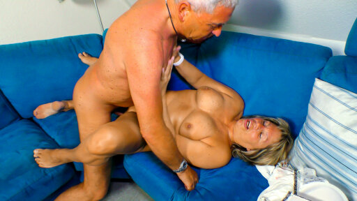 Nasty mature German amateur Karin A. cleans cock with her mouth and twat