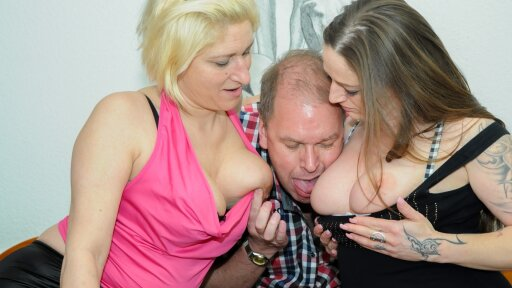 Raunchy hardcore FFM threesome with horny mature German swingers